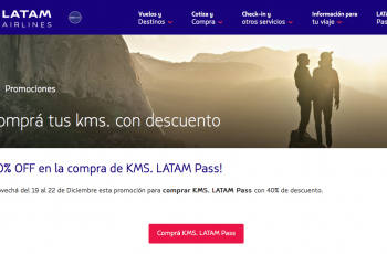 40% de descuento al comprar Kms Latam Pass
