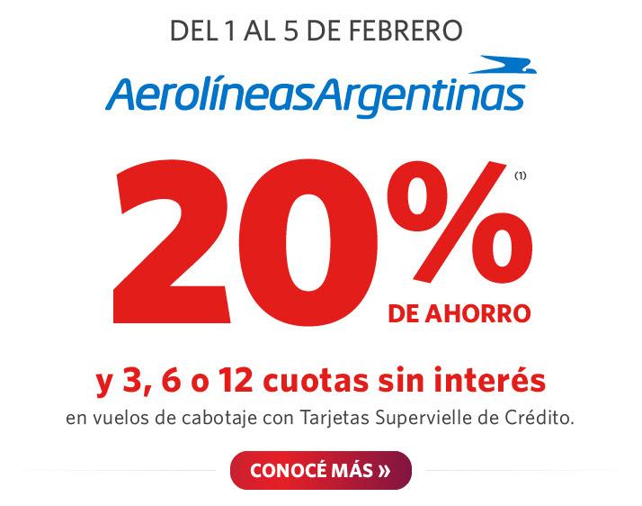 Del 1 al 5 de febrero, 20% de ahorro en vuelos de cabotaje.